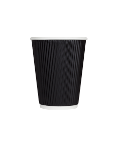 Karat 12oz Ripple Paper Hot Cups - Black (90mm) - 500 ct, C-KRC512B