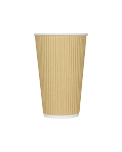 Karat 16oz Ripple Paper Hot Cups - Kraft (90mm) - 500 ct, C-KRC516