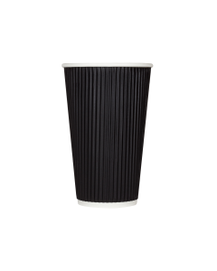 Karat 16oz Ripple Paper Hot Cups - Black (90mm) - 500 ct, C-KRC516B