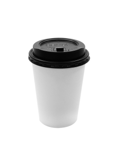 Karat 12oz White Paper Hot Cups and Black Enclosure Lids (90mm)