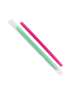 Karat 9'' Boba Straws (10mm) Poly Wrapped - Mixed Colors - 1,600 ct