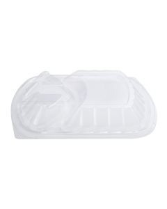 Karat OPS Lid for 36oz PP Microwaveable Black Take Out Box, 3 Compartment - 300 ct