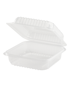 Karat 7'' x 7' PP Hinged Container, 1 compartment - 250 ct