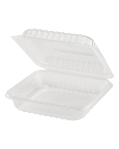Karat 8'' x 8' PP Hinged Container, 1 compartment - 250 ct