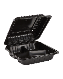 "Karat 8'' x 8"" Black PP Hinged Container, 3 compartment - 250 ct"