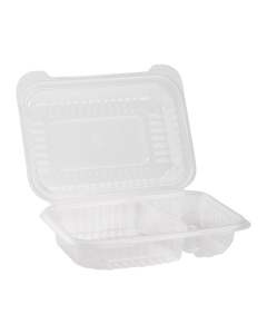 "Karat 9'' x 6"" PP Hinged Container, 2 compartment - 250 ct"