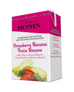 Monin Strawberry Banana Fruit Smoothie Mix (46oz), H-Smoothie, Strawberry Banana