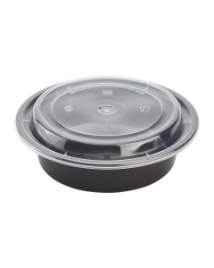 Karat 16oz PP Microwavable Round Food Containers & Lids - Black - 150 ct