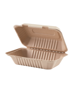 Karat Earth 9'' x 6'' Bagasse Hinged Containers, Natural - 200 ct