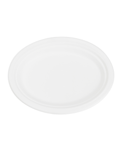 Karat Earth 10''x8'' Compostable Bagasse Oval Plates - 500 ct, KE-BPO108-1C