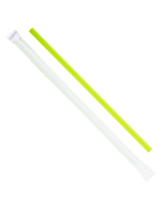 "Karat Earth 9"" Giant PLA Straws (7mm) Paper Wrapped - Green - 2,500 ct"