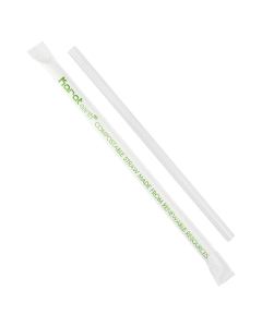 """Karat Earth 7.75"""" Giant PLA Straws (7mm) Paper Wrapped - Clear - 2000 ct"""