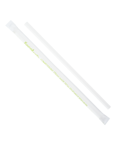 "Karat Earth 9"" Giant Paper Straw (7mm) Wrapped - White"