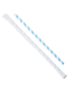 "Karat Earth 9"" Giant Paper Straw Wrapped - Blue/White (1,200 ct)"