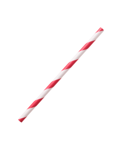 "Karat Earth Stir Unwrapped Paper Straw_5.25"" (Red Spiral)"