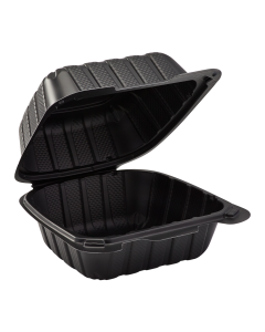 "Karat Earth 6"" x 6"" Mineral Filled PP Hinged Container, 1 compartment - Black"