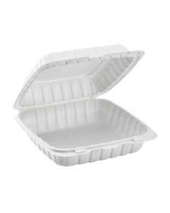 """Karat Earth 9"""" x 9"""" Mineral Filled PP Hinged Container, 1 compartment - White"""