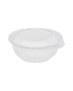 Karat 24oz PET Tamper Resistant Hinged Salad Bowl with Dome Lid - 240 sets