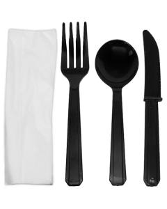 Karat PS Heavy Weight Cutlery Kits - Black - 250 ct, U2200B