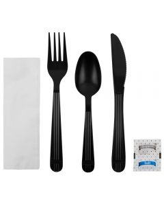 Karat PP Heavy Weight Cutlery Kits with Salt and Pepper - Black - 250 ct, U2203B