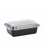Karat 24oz PP Microwavable Rectangular Food Containers & Lids - Black - 150 ct
