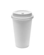 Karat 16oz White Paper Hot Cups and White Enclosure Lids (90mm)