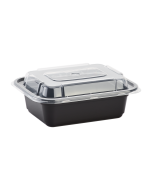 Karat 12oz PP Microwavable Rectangular Food Containers & Lids - Black - 150 ct