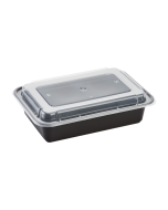 Karat 38oz PP Microwavable Rectangular Food Containers & Lids - Black - 150 ct