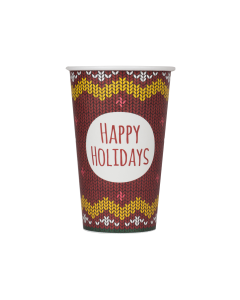 Karat 16oz Paper Hot Cups - Holiday Sweater (90mm) - 1,000 ct, C-K516 (Holiday)