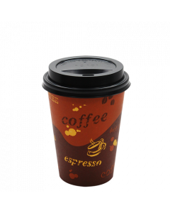 Karat 12oz Generic Paper Hot Cups and Black Sipper Dome Lids (90mm)