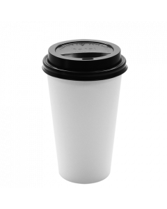 Karat 16oz White Paper Hot Cups and Black Sipper Dome Lids (90mm)