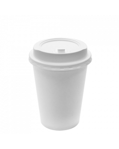Karat 12oz White Paper Hot Cups and White Enclosure Lids (90mm)