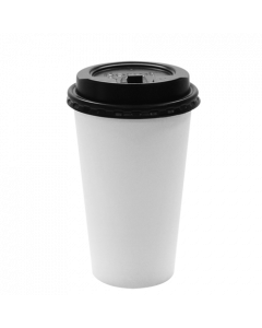 Karat 16oz White Paper Hot Cups and Black Enclosure Lids (90mm)