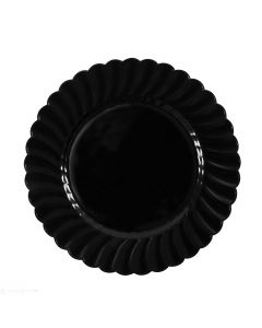 "Karat 9"" PS Scalloped Plate - Black - 120 ct, CS-PS09B"