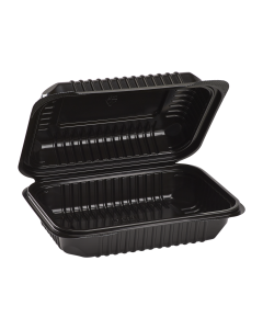 "Karat 9'' x 6"" Black PP Hinged Container, 1 compartment - 250 ct"