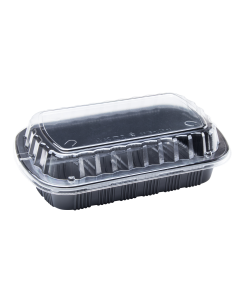 Karat Half Slab Black PP Rib Container with Clear OPS lid - 100 ct