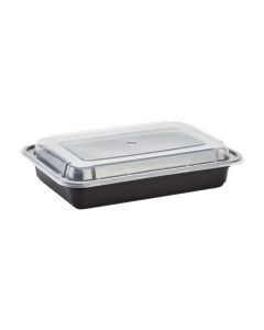 Karat 28oz PP Microwavable Rectangular Food Containers & Lids - Black - 150 ct