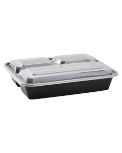 Karat 32oz PP Microwavable Rectangular Food Containers & Lids - Black - 3 Compartments - 150 ct