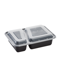Karat 30oz PP Microwavable Rectangular Food Containers & Lids - Black - 2 Compartments - 150 ct