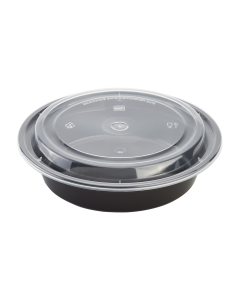 Karat 24oz PP Microwavable Round Food Containers & Lids - Black - 150 ct