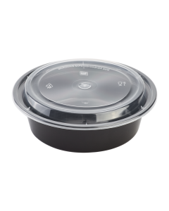 Karat 32oz PP Microwavable Round Food Containers & Lids - Black - 150 ct