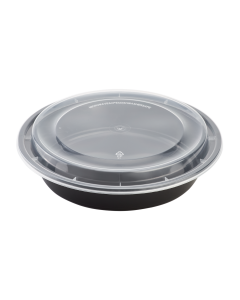 Karat 48oz PP Microwavable Round Food Containers & Lids - Black - 150 ct