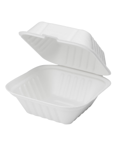 Karat Earth 6''x6'' Compostable Bagasse Hinged Containers - 500 ct, KE-BHC66-1C