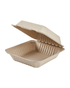 Karat Earth 8'' x 8'' Compostable Bagasse Hinged Containers, Natural - 200 ct