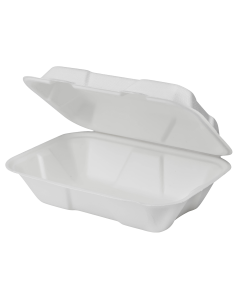 Karat Earth 9''x6'' Compostable Bagasse Hinged Containers - 200 ct, KE-BHC96-1C