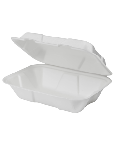 Karat Earth 9''x6'' PFAS Free Compostable Bagasse Hinged Containers - 200 ct