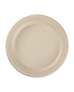 Karat Earth 9'' Compostable Bagasse Round Plates, Natural - 500 ct