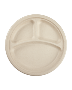 Karat Earth 10'' Compostable Bagasse Round Plates, Natural - 3 Compartments - 500 ct