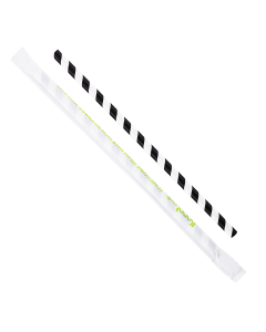 "Karat Earth 9"" Giant Paper Straw Wrapped - Black/White (1,200 ct)"