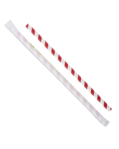 "Karat Earth 9"" Giant Paper Straw Wrapped - Red/White (1,200 ct)"